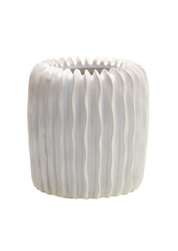 Large White Ceramic Ripple Vase
