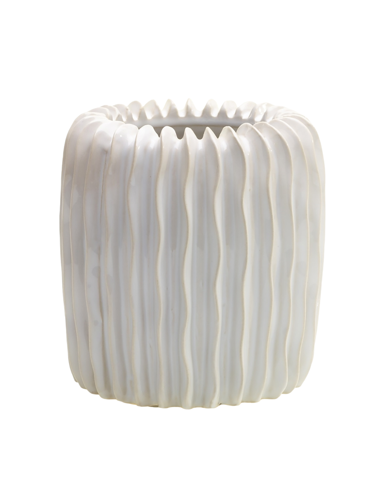 Large White Ceramic Ripple Vase