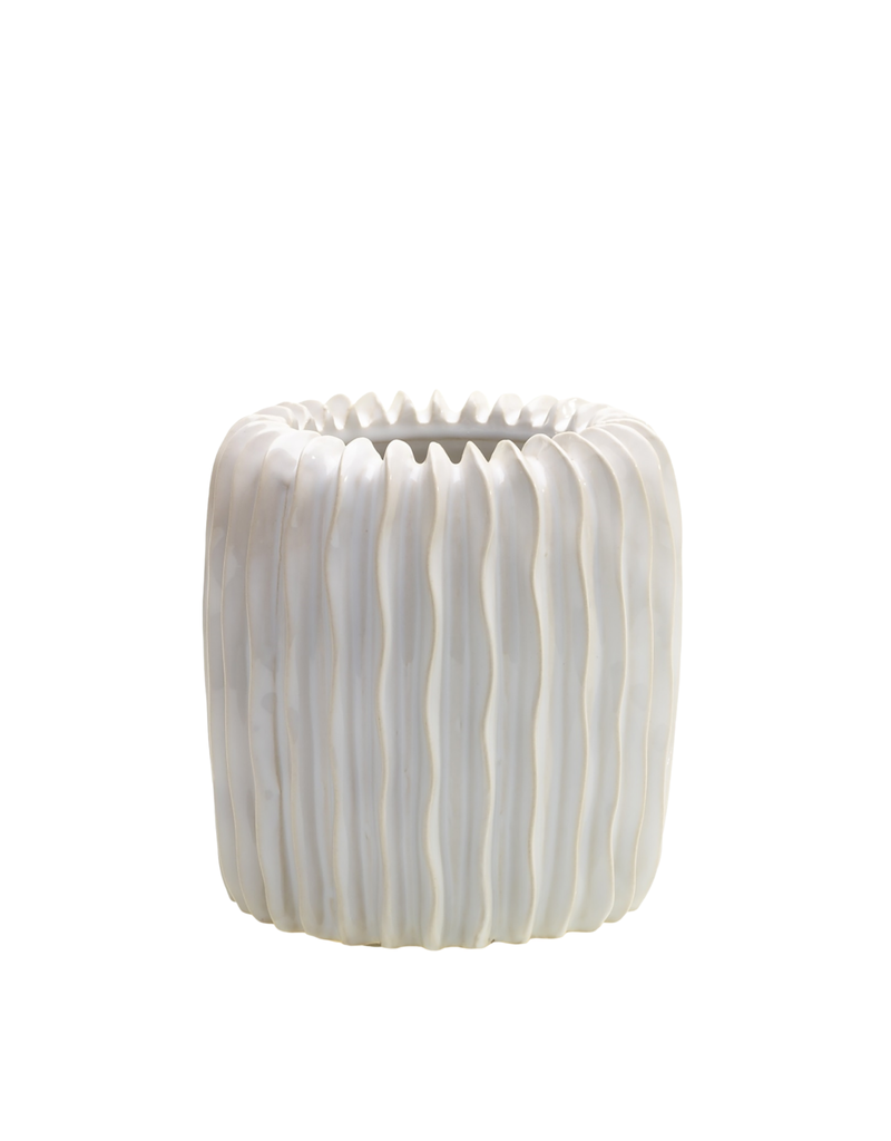 Small White Ceramic Ripple Vase
