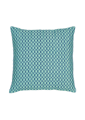 Aqua & Navy Chain Stitch Pillow