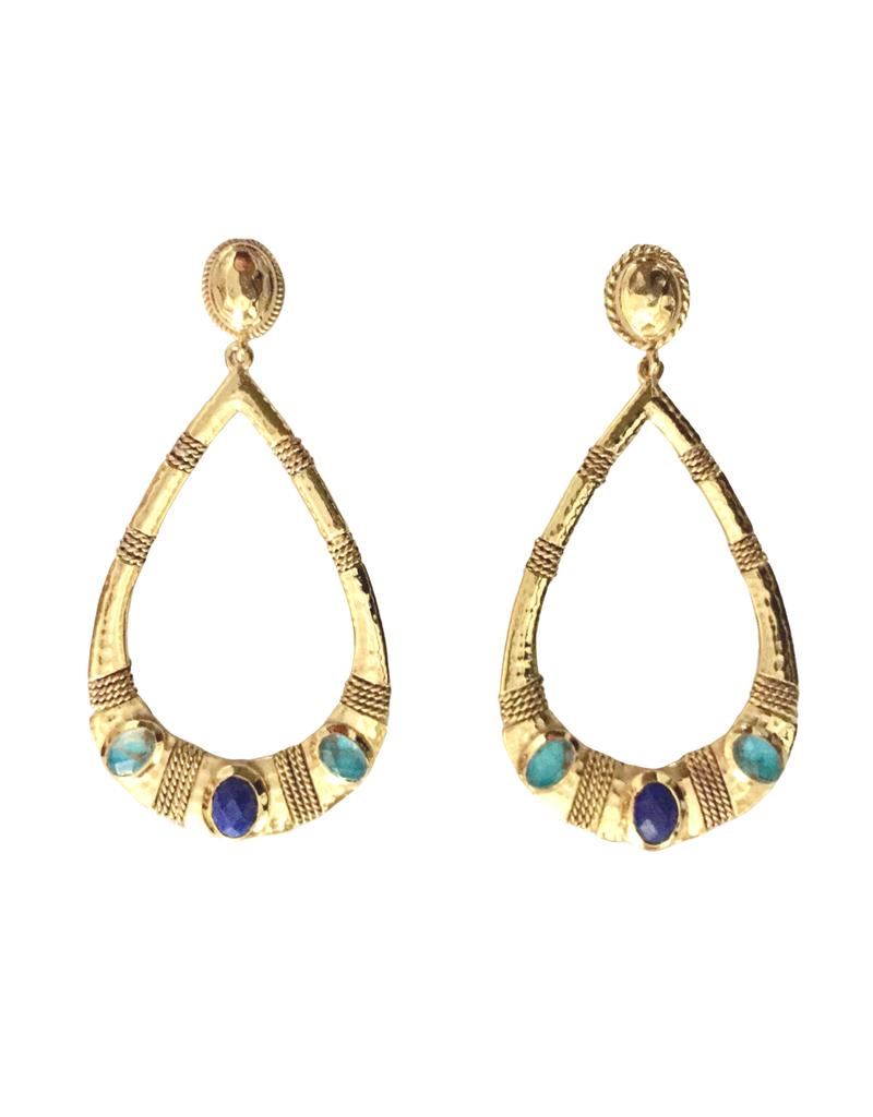 Turquoise & Lapis Teardrop Earring