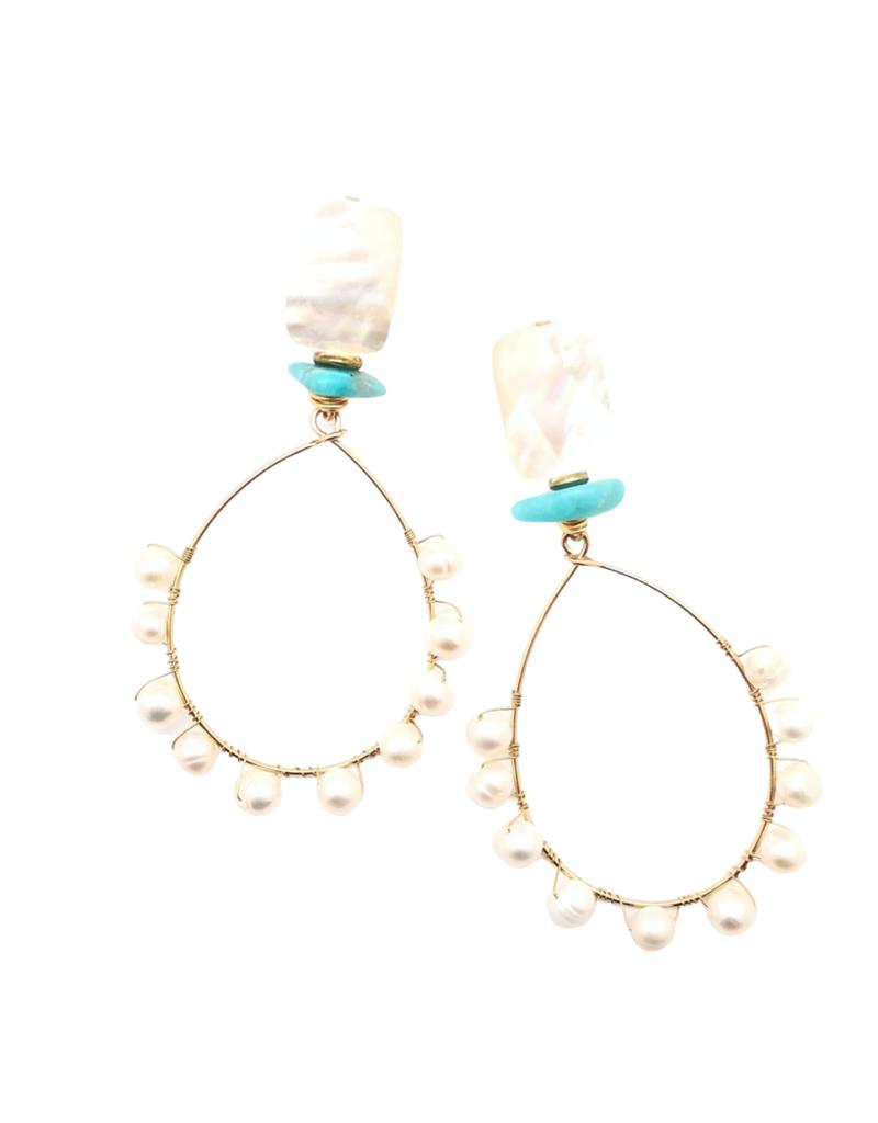 Pearl & Turquoise Teardrop Earring