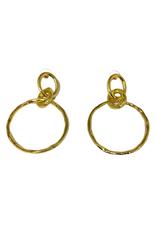 Gold Double Ring Earrings