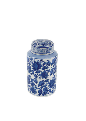 Blue & White Floral Jar