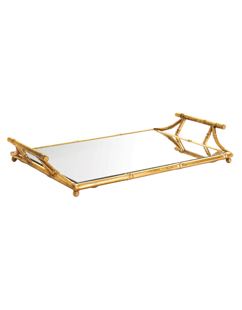 Gold Bamboo Mirrored Tray