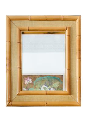 Vintage Raffia & Bamboo Mirror