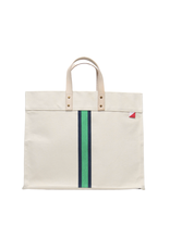 Navy & Green Striped Box Tote
