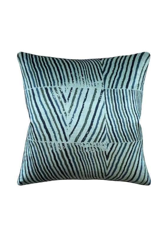 Teal Abstract Stripe Pillow