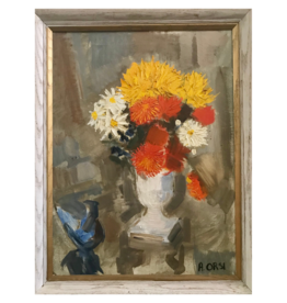 Vintage Orange Floral Arrangement Painting