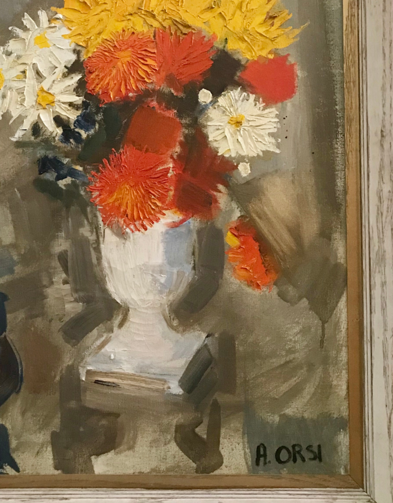 Vintage Orange Floral Arrangement Painting