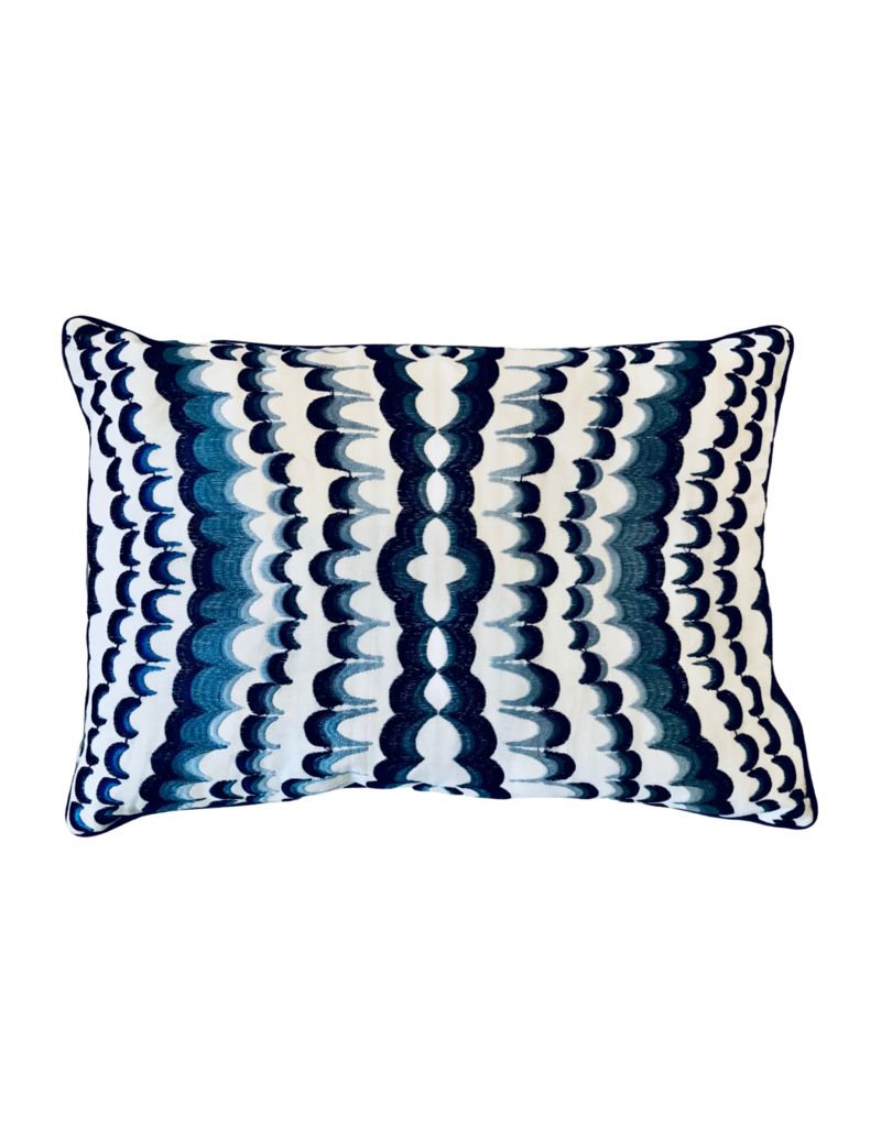 Embroidered Blue & White Lumbar Pillow