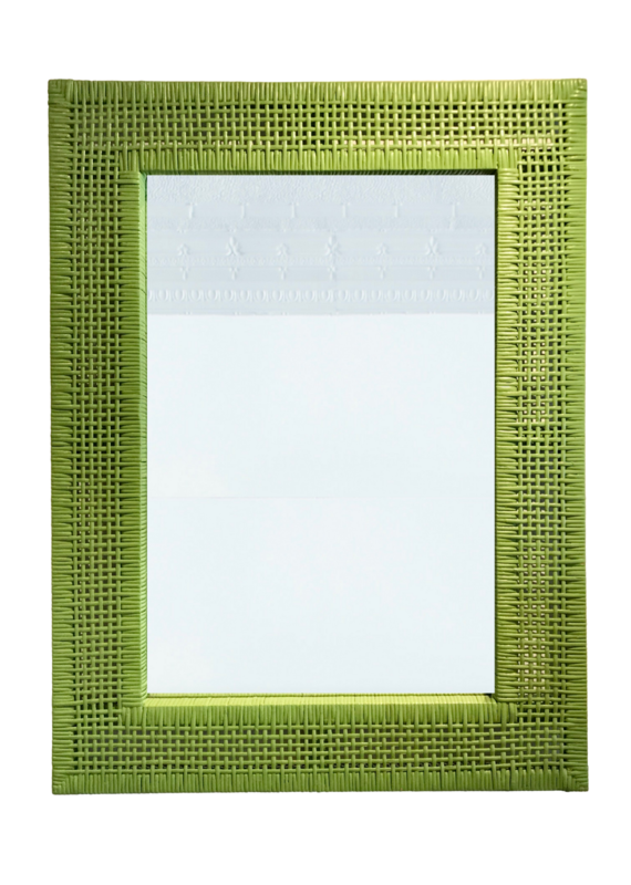 Vintage Green Rattan Mirror