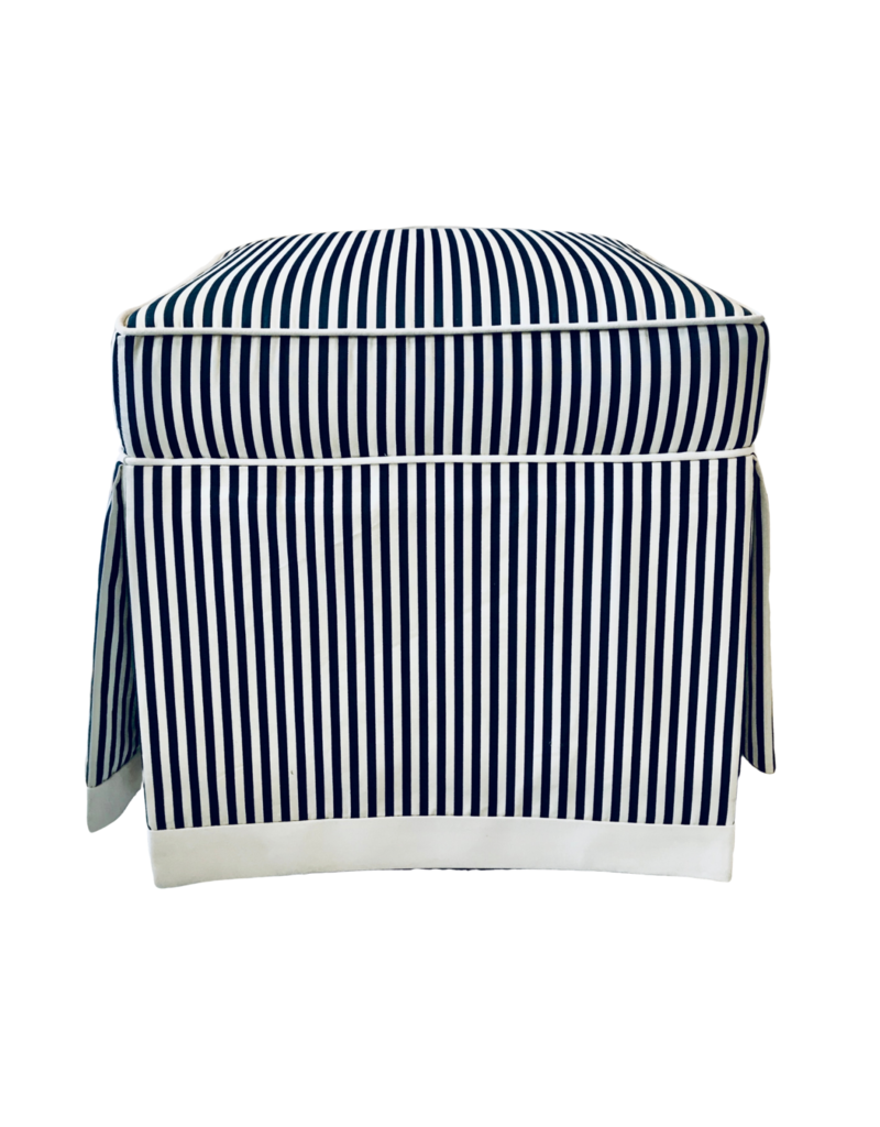 Vintage Pair of Blue & White Striped Benches