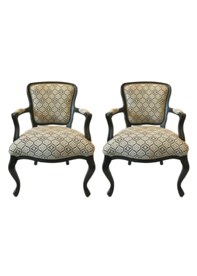 Vintage Pair of Black & Grey Upholstered Chairs