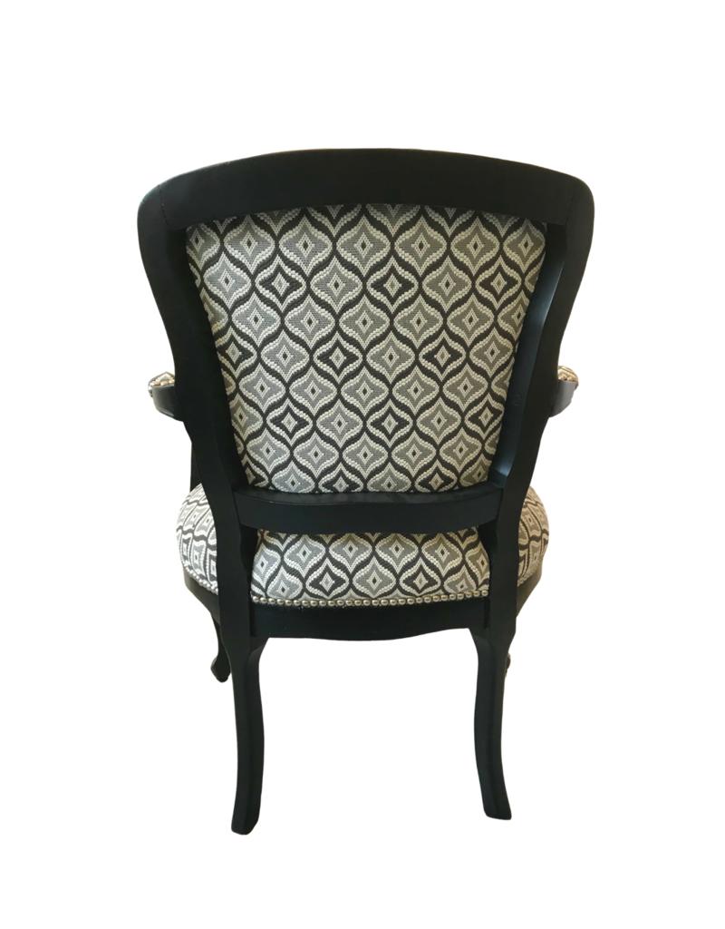 Vintage Pair of Black & Grey Upholstered Chairs