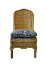 Vintage Rattan Chair with Blue Animal Seat