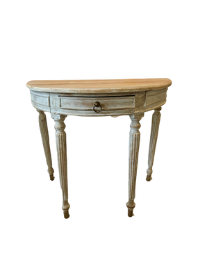 Vintage Whitewash Demilune Table