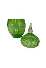 Vintage Green Lidded Glass Jar