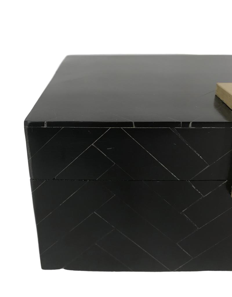 Black & Brass Herringbone Box