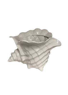 Vintage White Ceramic Shell Planter