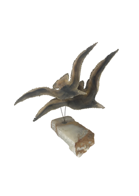 Vintage Metal Bird Sculpture on Stone