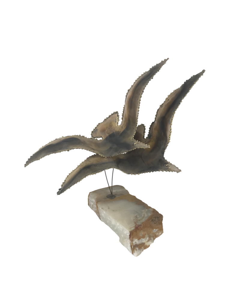 Vintage Metal Bird Sculpture on Stone