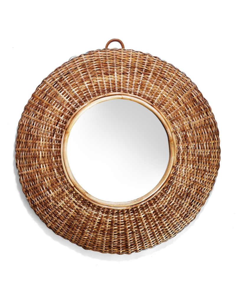 Woven Wicker Round Mirror