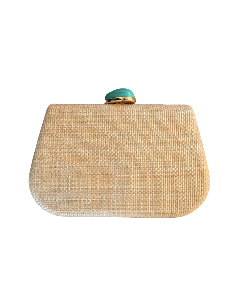 Raffia Clutch with Turquoise Closure