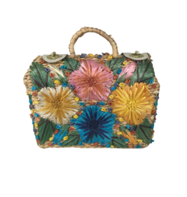 Vintage Straw Floral Handbag