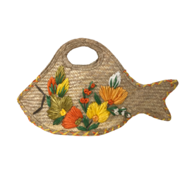 Vintage Straw Fish Handbag