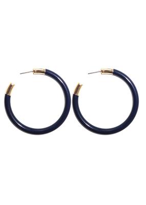 Navy & Gold Hoop Earrings