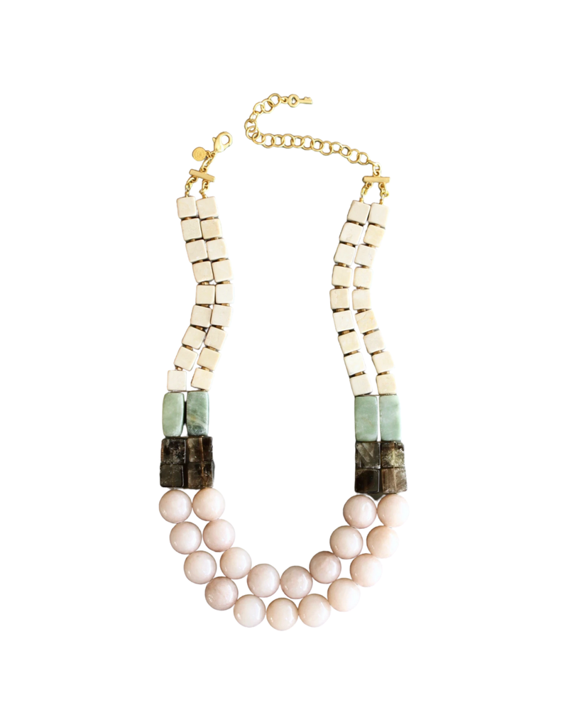 Agate, Pyrite & Brass Necklace