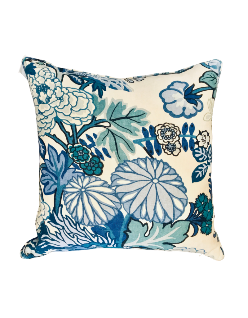 Teal Chinoiserie Floral & Dragon Pillow