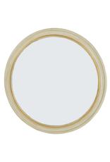 White & Gold Round Mirror