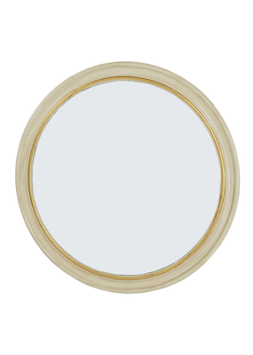 White & Gold Round Mirror