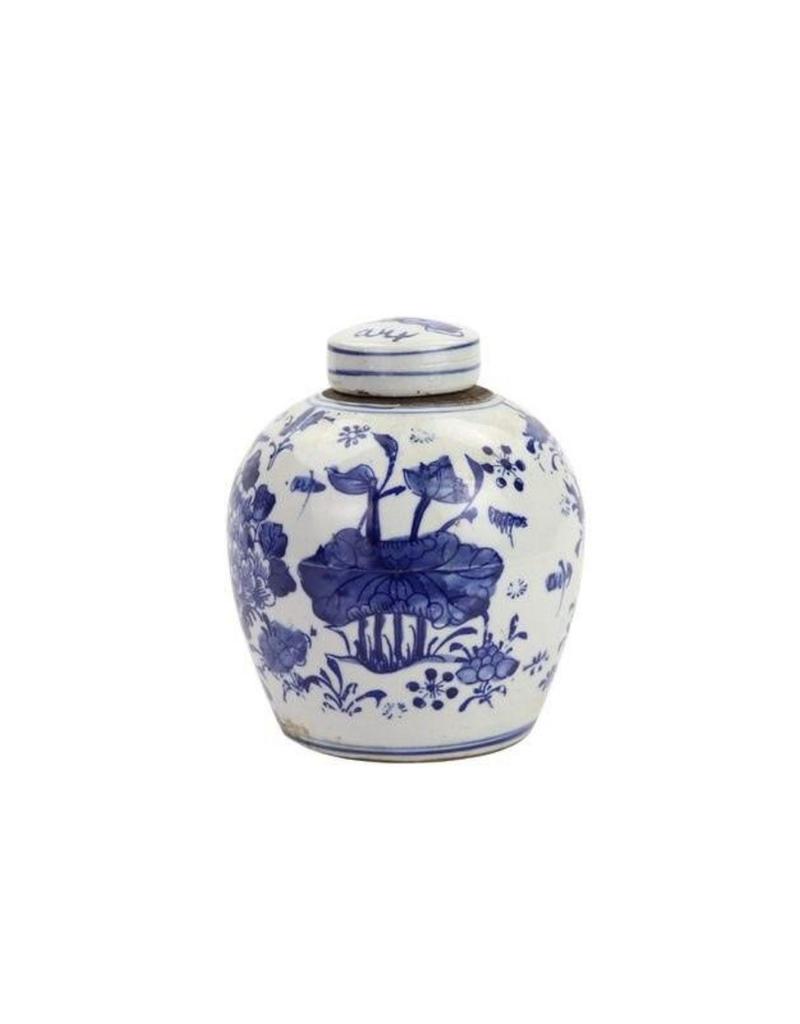 Blue & White Peony Lotus Ginger Jar