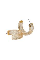 Lucite & Gold Glitter Hoops