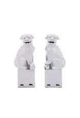 Pair of Porcelain White Foo Dogs
