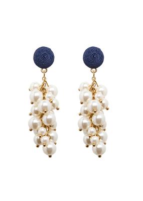 Navy & Pearl Cluster Earring