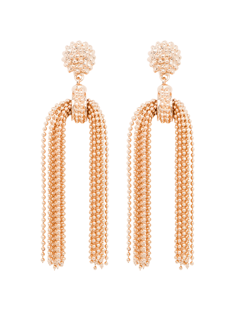Gold Beaded Statement Earrings