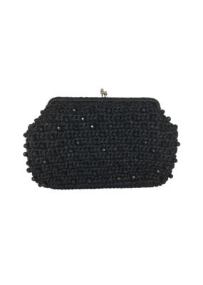 Vintage Black Raffia Beaded Clutch