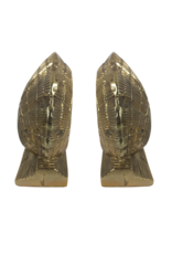Vintage Brass Scallop Shell Bookends