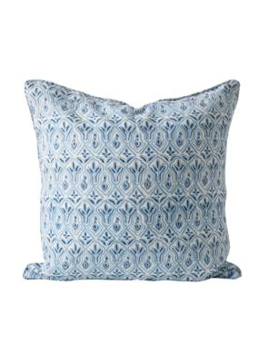 Blue & White Floral Block Print Pillow