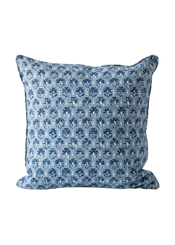 Blue & White Floral Stripe Pillow