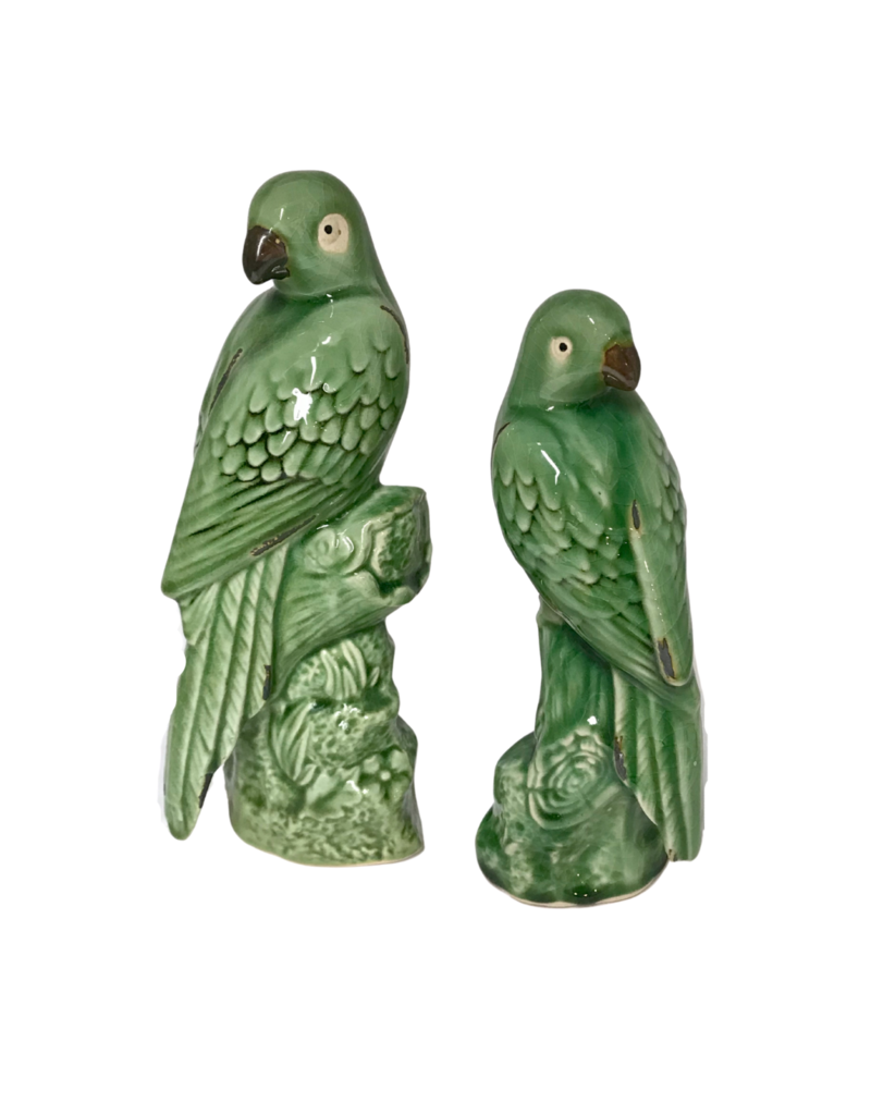 Pair of Green Ceramic Birds