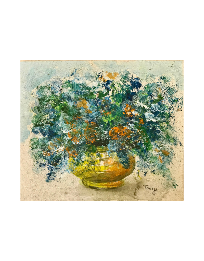 Vintage Small Floral Painting on Board