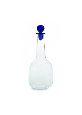 Glass Decanter with Blue Stopper