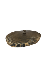 Bronze Oval Ribbed Lidded Box
