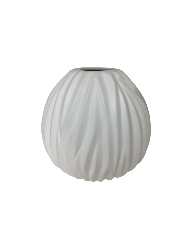 White Porcelain Pleated Vase
