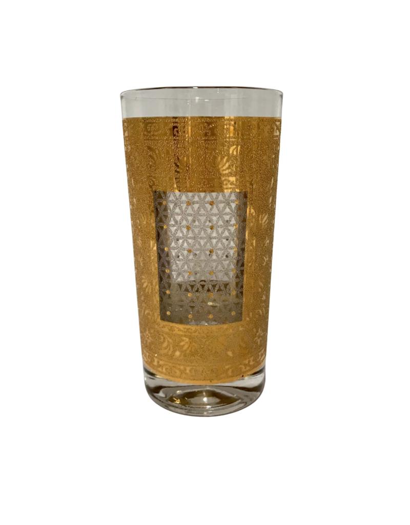 Vintage Set of 6 Gold Etched Glasses